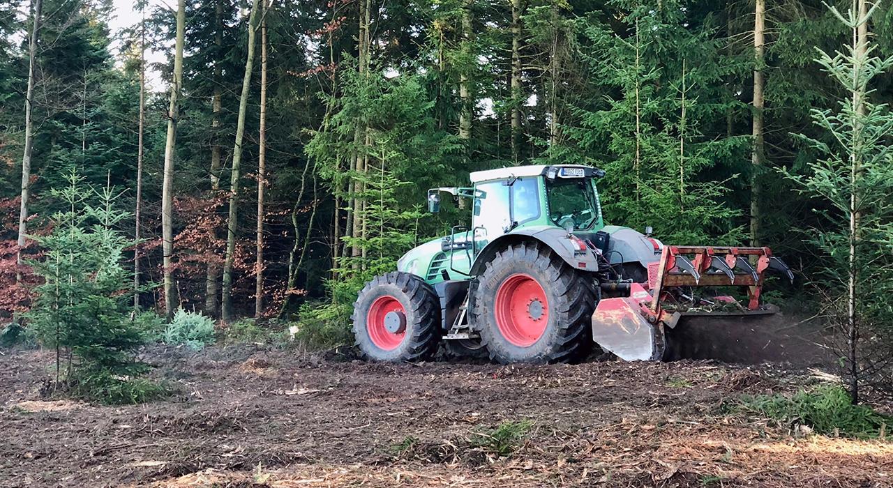 Fendt-Schlepper mit Forstmulcher zur Entfernung von Hecken, Buschwerk und Äste